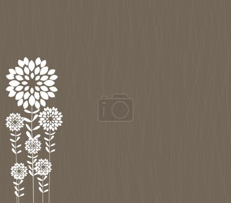 Illustration for Dark grey background with white flowers, vector - Royalty Free Image