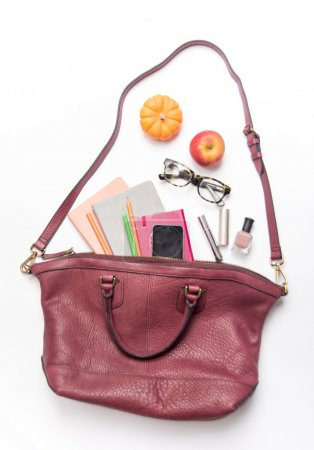 Leather Bag with female items