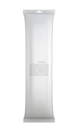 White blank sachet packaging.