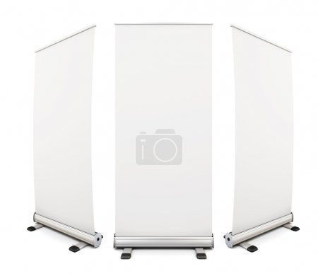 Photo for Template blank roll up banner display on white background. 3d rendering. - Royalty Free Image