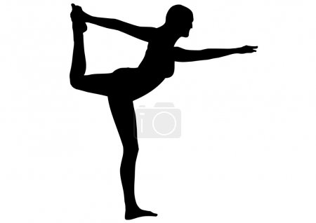 Girl in yoga position on white background...