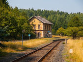 Small old railway station in rural area