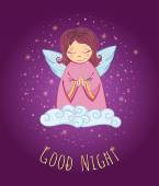Little Cute Angel in a Cloud Good Night Card Vector Illustration