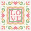 Embroidered Stitch Frame With Love Text, Flower an...