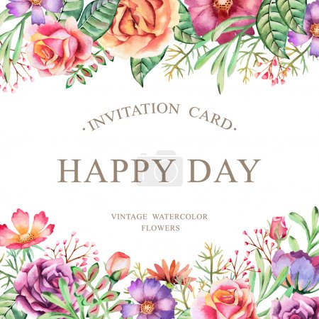 Illustration for Hand drawn watercolor card. Background for flyers, posters, placards, invitation, wedding, greeting and save the date cards. - Royalty Free Image