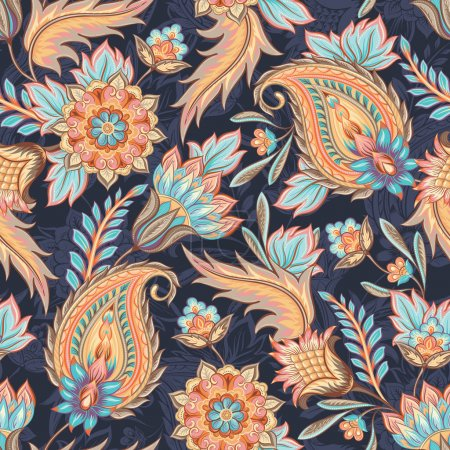 Illustration for Traditional oriental paisley pattern. Seamless vintage flowers background. Decorative ornament backdrop for fabric, textile, wrapping paper, card, invitation, wallpaper, web design. - Royalty Free Image