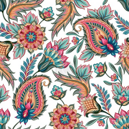 Illustration for Traditional oriental seamless paisley pattern. Vintage flowers background. Decorative ornament backdrop for fabric, textile, wrapping paper, card, invitation, wallpaper, web design. - Royalty Free Image