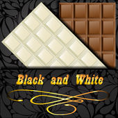 Elegant dark envelope with two kinds of chocolate: black and white