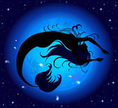 Silhouette jumped out of the water mermaid on a background of blue mystic moon