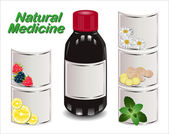 Medical syrup from different natural ingredients Set of different labels Natural Medicine