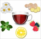 A cup of tea and various ingredients: lemon ginger chamomile