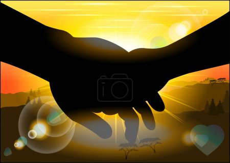 Silhouette holding hands against the backdrop of the picturesque