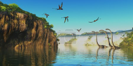 Dimorphodon and Omeisaurus Dinosaurs