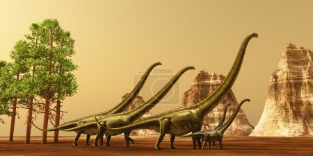 A herd of Mamenchisaurus dinosaurs make their way ...