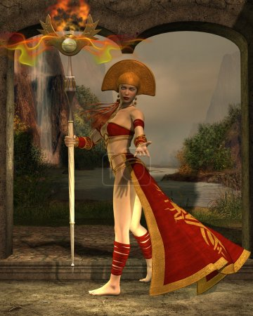A priestess wields a staff with magic powers of th...