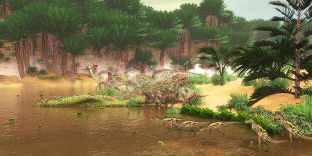 Photo pour Un regard serein sur une rivière du Crétacé avec de nombreux dinosaures différents qui viennent boire un verre d'eau, y compris Diabloceratops, Olorotitan et Deltadromeus . - image libre de droit