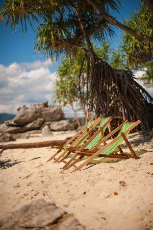 Beach lounge chairs on sandy beach