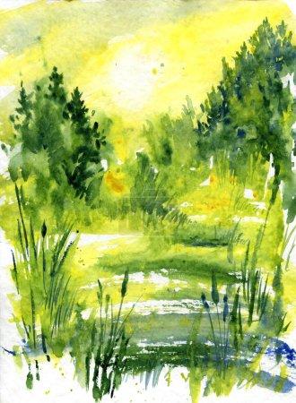 Foto de Paisaje abstracto de acuarela con amanecer en el bosque, luz solar, árboles y arbustos, pantano en el día soleado, pantano y matorrales, ilustración dibujada a mano, fondo de acuarela - Imagen libre de derechos