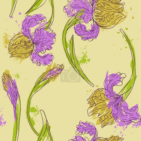 floral seamless pattern with irises