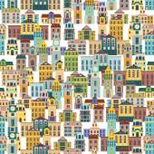 Vector seamless pattern with cartoon buildings vector illustration