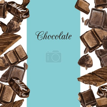 Vector card with chocolates drawing by watercolor