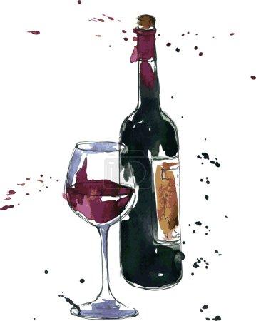 Illustration pour Bouteille de vin et verre, dessin à l'aquarelle et à l'encre, illustration vectorielle dessinée à la main - image libre de droit