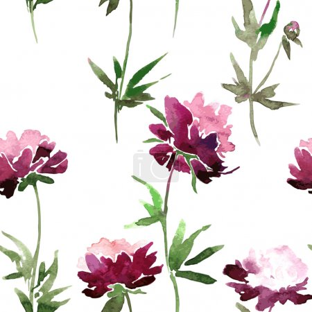 Seamless pattern with peony flowers
