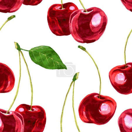 Illustration for Vector seamless pattern with watercolor drawing cherry, hand drawn vector illustration - Royalty Free Image