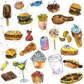 set of sweets and fast food sketch