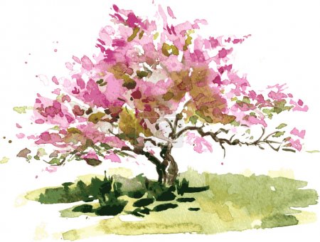 Illustration for Cherry blossom tree drawing by watercolor, aquarelle sketch of blooming apple tree, painting garden, hand drawn vector art background - Royalty Free Image