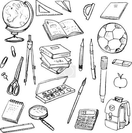 Photo pour Ensemble d'objets scolaires, outils de gribouillage pour apprendre, ustensiles d'écriture et livres, éléments de conception dessinés à la main - image libre de droit