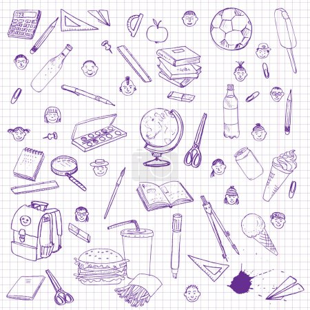 Illustration for Set of school objects, doodle tools for learning,  drawing by ink pen at paper from a school notebook, sketch icons set, hand drawn design element, writing utensils and books - Royalty Free Image