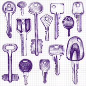 Set of different keys collection of various keys drawn with a ballpoint pen in vintage style on a paper from a school notebook page from sketchbooks hand drawn vector illustration