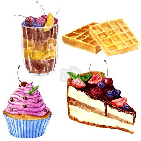 Illustration pour Ensemble de desserts à l'aquarelle, gaufrettes viennoises croustillantes, dessert au chocolat aux baies fraîches, cupcake à la crème rose et morceau de gâteau au chocolat, illustration vectorielle dessinée à la main - image libre de droit
