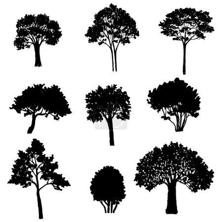 set of tree silhouettes