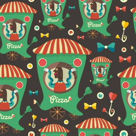 Retro seamless pattern with pizza seller.