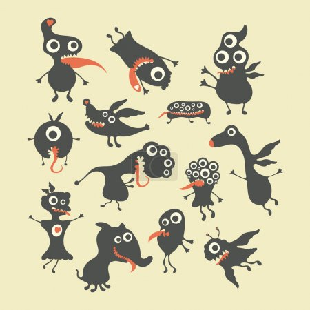 Happy monsters vector illustrations. Mega Set 1