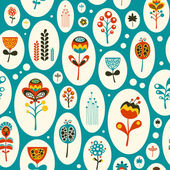 Seamless pattern with colorful flowers on turquoise background