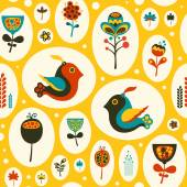 Seamless pattern with birds and flowers on yellow background