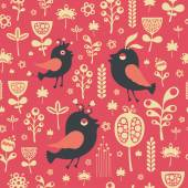 Vintage seamless pattern with birds and flowers