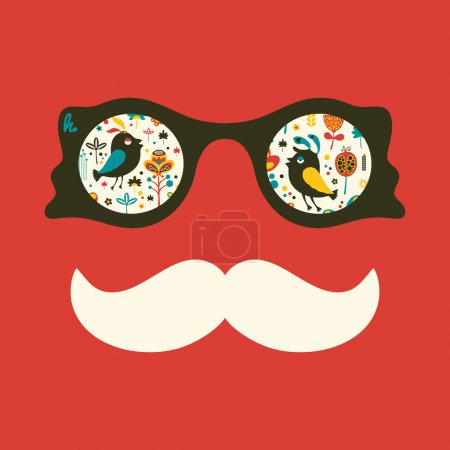 Hipster vintage sunglasses with colorful birds and flowers.