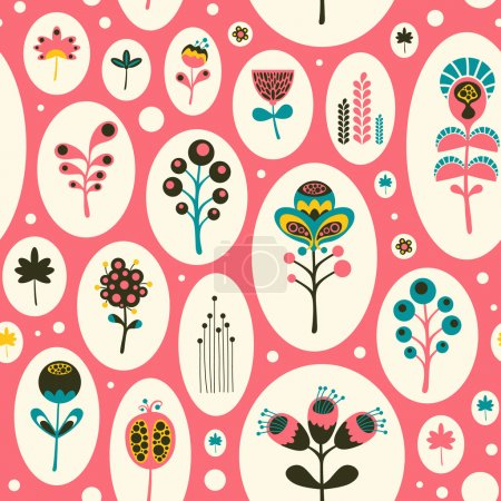 Seamless pattern with colorful flowers on pink background.