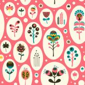 Seamless pattern with colorful flowers on pink background