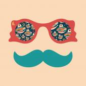 Hipster vintage sunglasses with paper Christmas toys