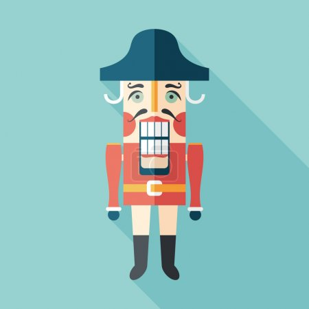 Retro nutcracker flat square icon with long shadows.