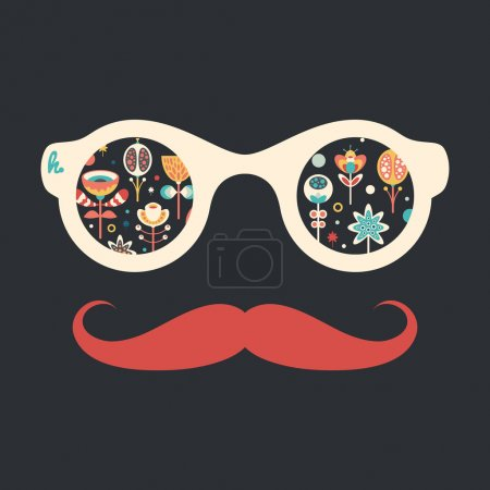 Hipster vintage sunglasses with colorful Christmas flowers on dark background.