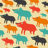Seamless pattern with colorful dogs