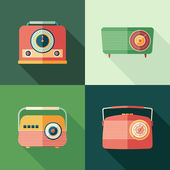 Set of vintage radios flat square icons with long shadows