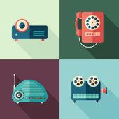Sada vintage audio a video ploché ikony s dlouhými stíny