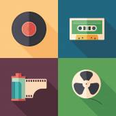 Set of colorful retro flat media icons with long shadows